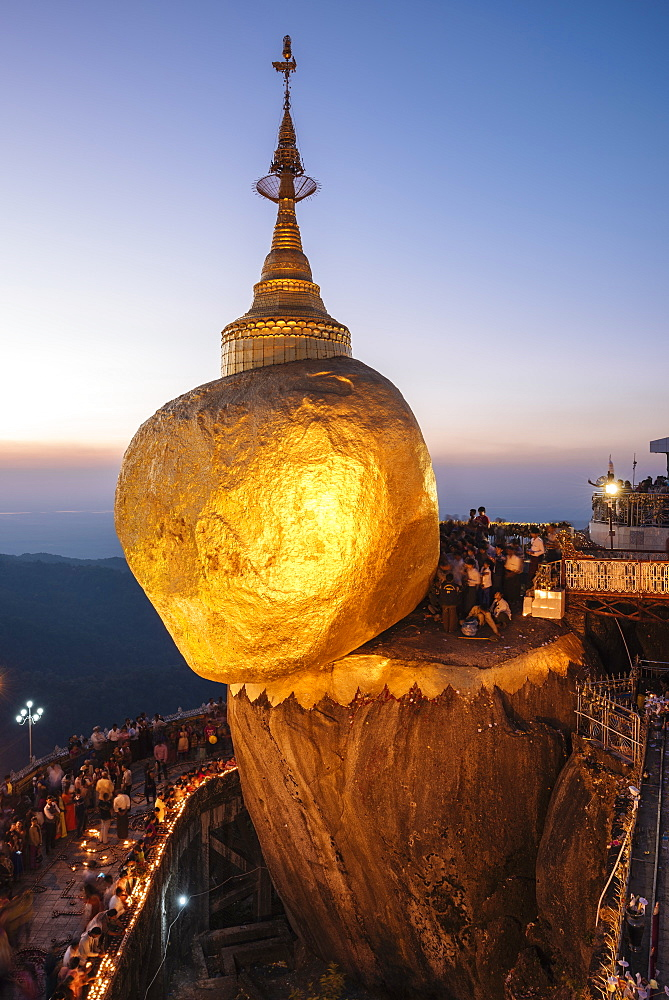 Mount Kyaiktiyo (Golden Rock) at twilight, Mon State, Myanmar (Burma), Asia