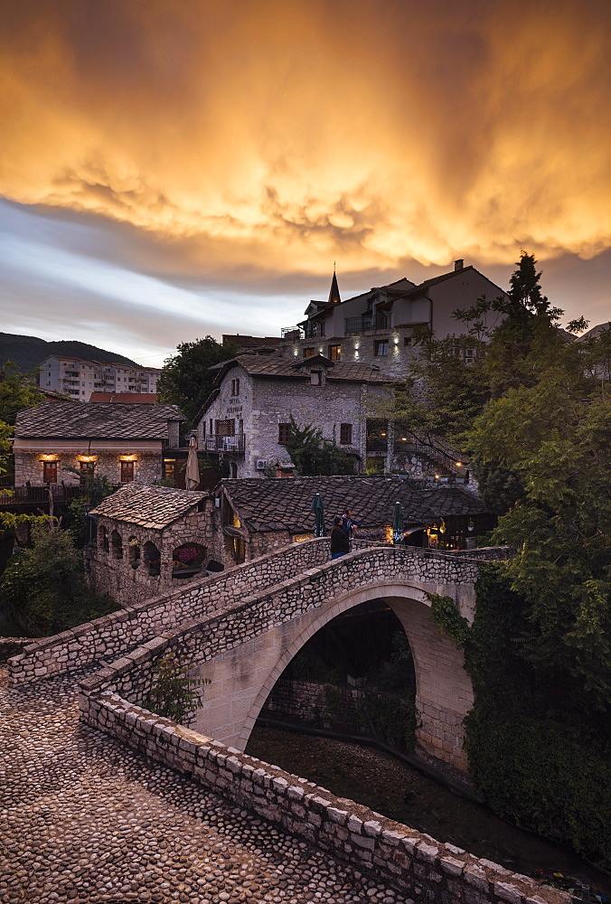 The Crooked Bridge, Mostar, Bosnia and Hercegovina, Europe