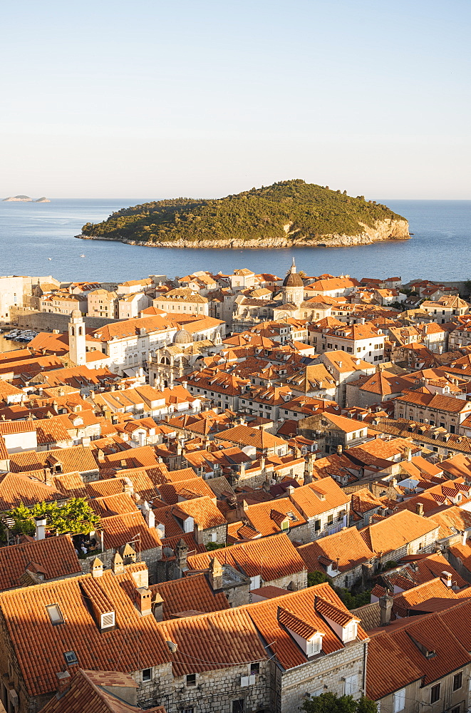 Views over Dubrovnik city skyline from City Walls, UNESCO World Heritage Site, Dubrovnik, Croatia, Europe - 848-1371