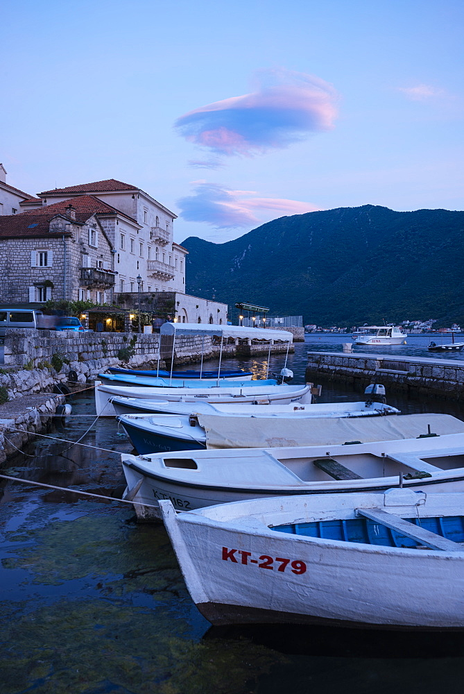 Perast at twilight, Bay of Kotor, Montenegro, Europe - 848-1386