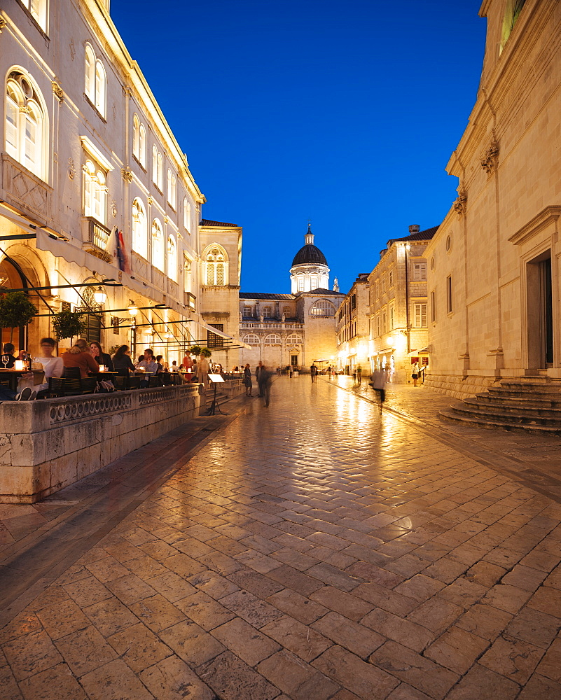 Old Town at night, UNESCO World Heritage Site, Dubrovnik, Croatia, Europe