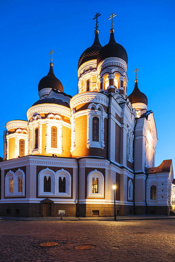 Exterior of Russian Orthodox Alexander Nevsky Cathedral at night, Toompea, Old Town, Tallinn, Estonia, Europe - 848-1413