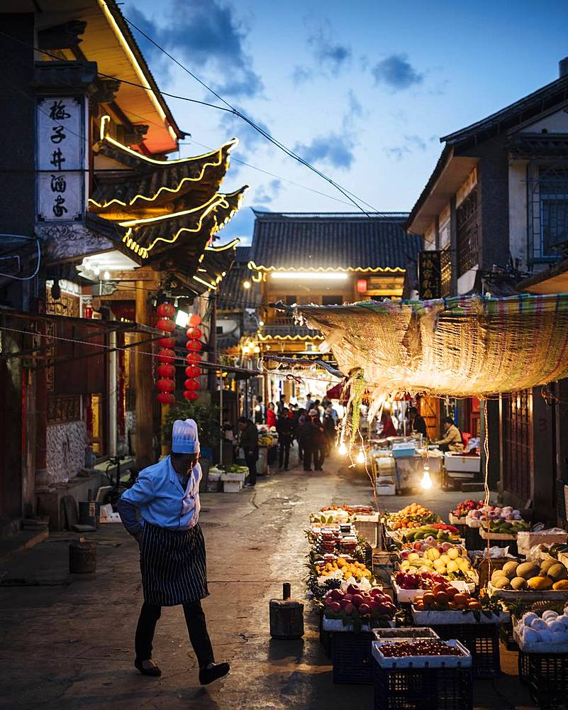 Street scene at night, Dali, Yunnan Province, China