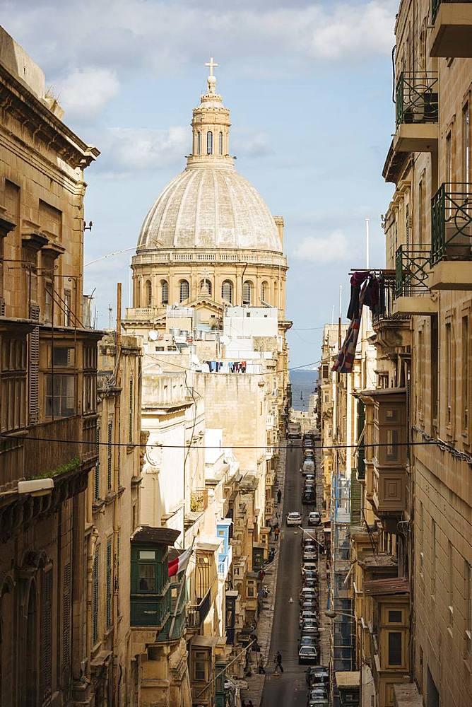 View from Old Bakery Street (Triq I-Ifran), Valletta, Malta, Europe