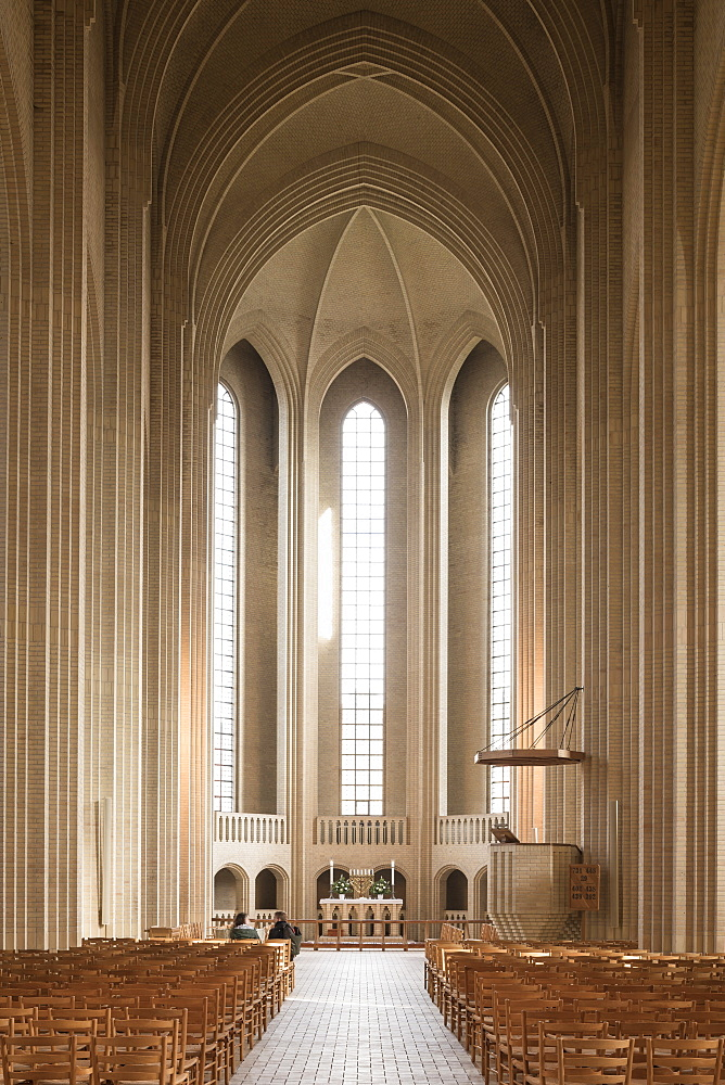 Interior of Grundvigs Church, Bispebjerg, Copenhagen, Denmark