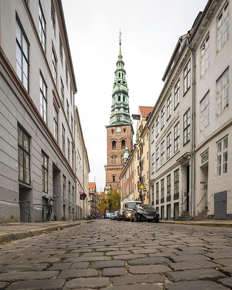 Cobbled Street, Central Copenhagen, Denmark, Scandinavia, Europe