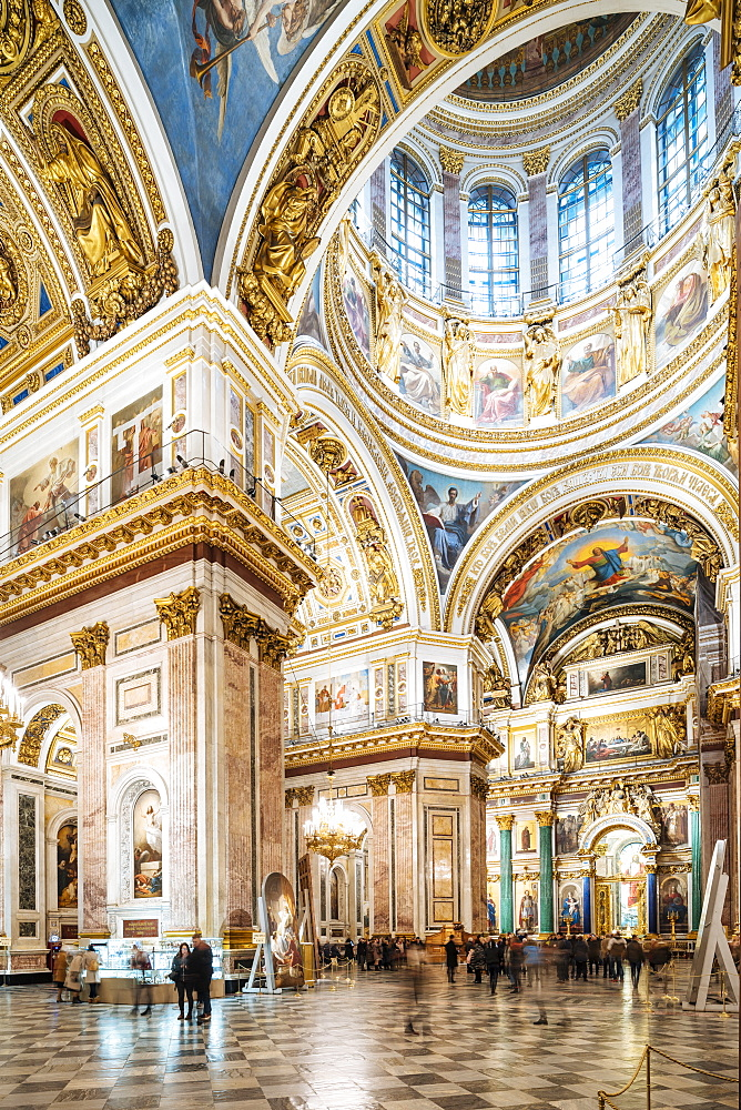 Interior of St. Isaac's Cathedral, St. Petersburg, UNESCO World Heritage Site, Leningrad Oblast, Russia, Europe