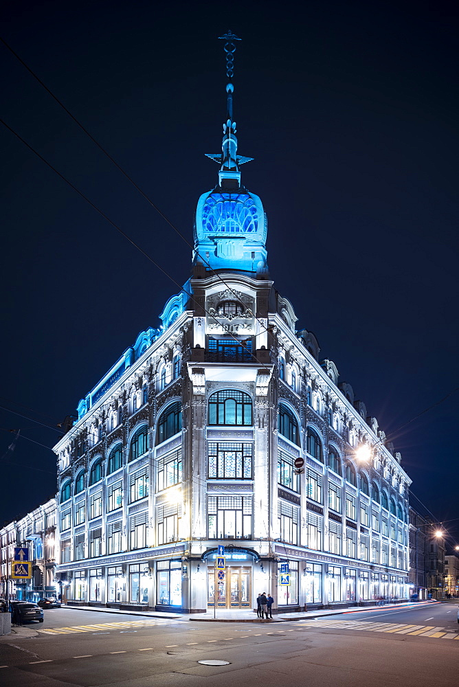 Au Pont Rouge Department Store at night, St. Petersburg, Leningrad Oblast, Russia, Europe