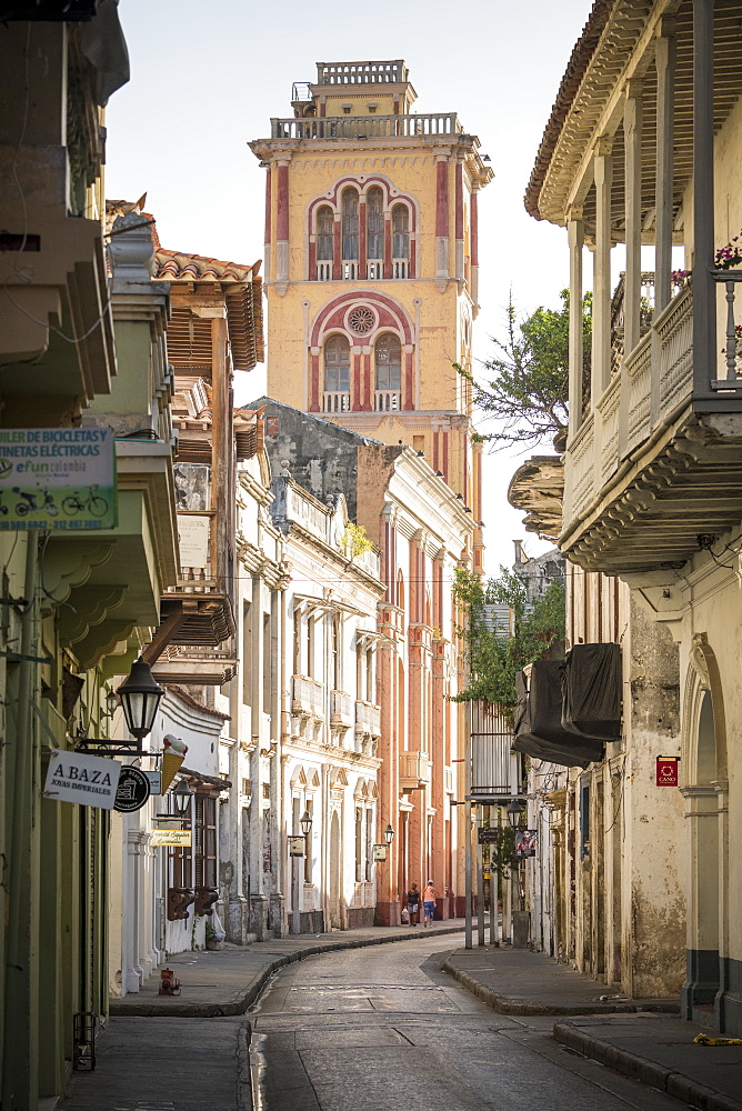 Colonial architecture in the Old City, UNESCO World Heritage Site, Cartagena, Bolivar Department, Colombia, South America - 848-2100