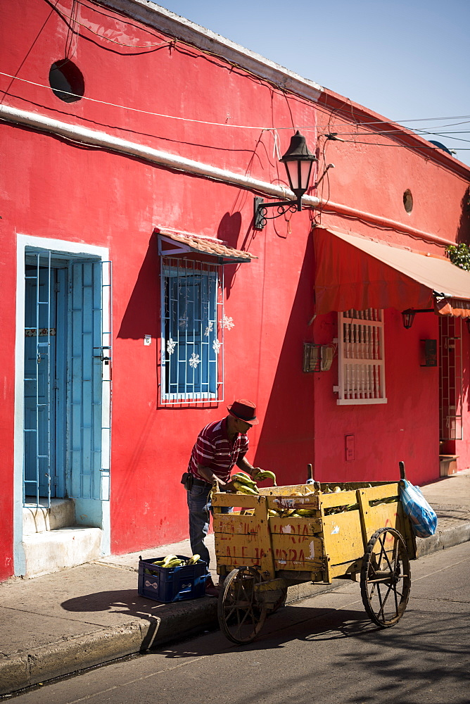 Fruit Seller, Getsemani Barrio, Cartagena, Bolivar Department, Colombia, South America - 848-2104