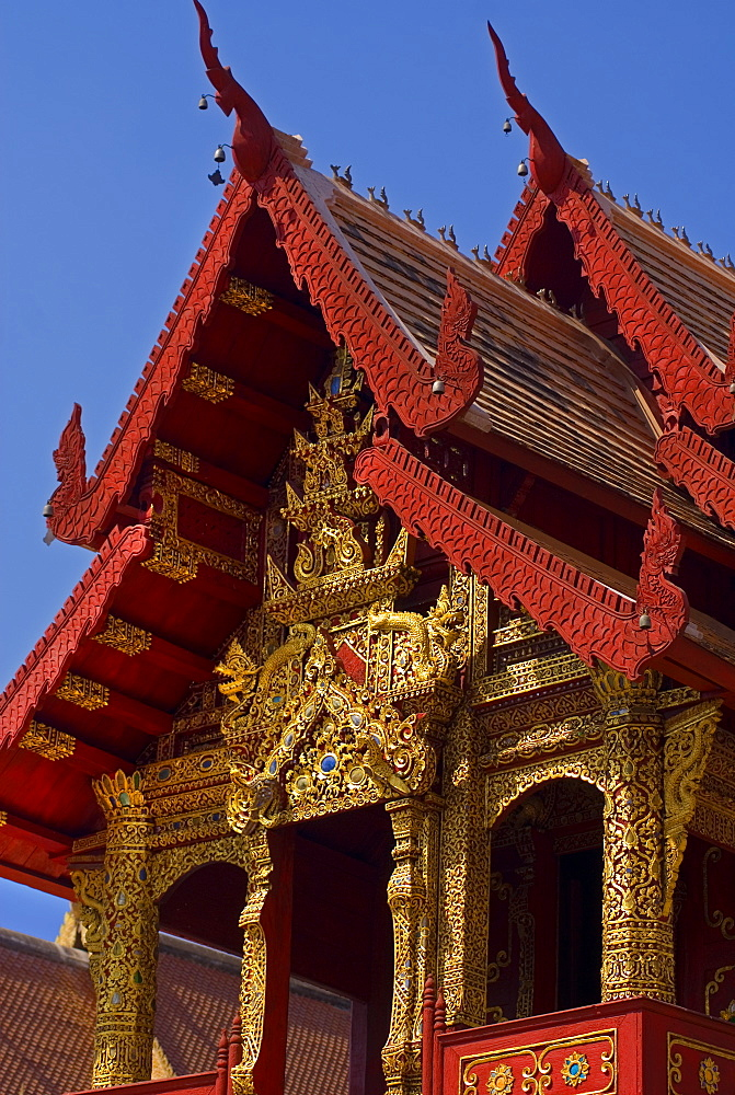 facade of Wat Phra Singh Temple, Chiang Mai, Chiang Mai Province, Thailand, Southeast Asia, Asia