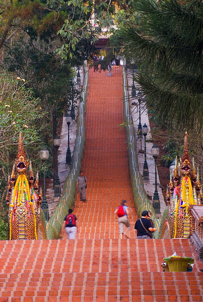 Doi Suthep Steps, Chiang Mai, Chiang Mai Province, Thailand, Southeast Asia, Asia