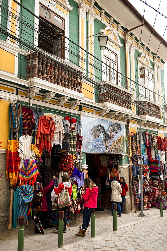 Textile shops, La Paz, Bolivia, South America