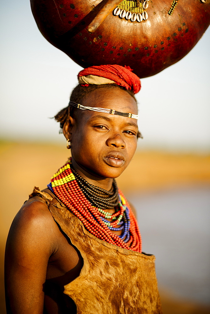 Portrait of Abua by the Omo River, Dassanech Tribe, Rate Village, Omorate, Omo Valley, Ethiopia, Africa