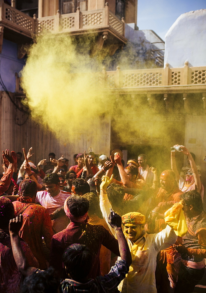 Lathmar Holi celebrations in Nand Rae Temple, Nandagaon, Braj, Uttar Pradesh, India, Asia