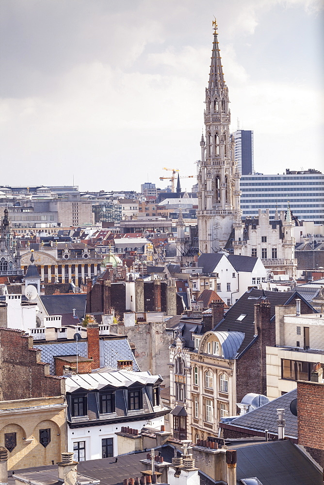 The rooftops and spire of the Town Hall in the background, Brussels, Belgium, Europe