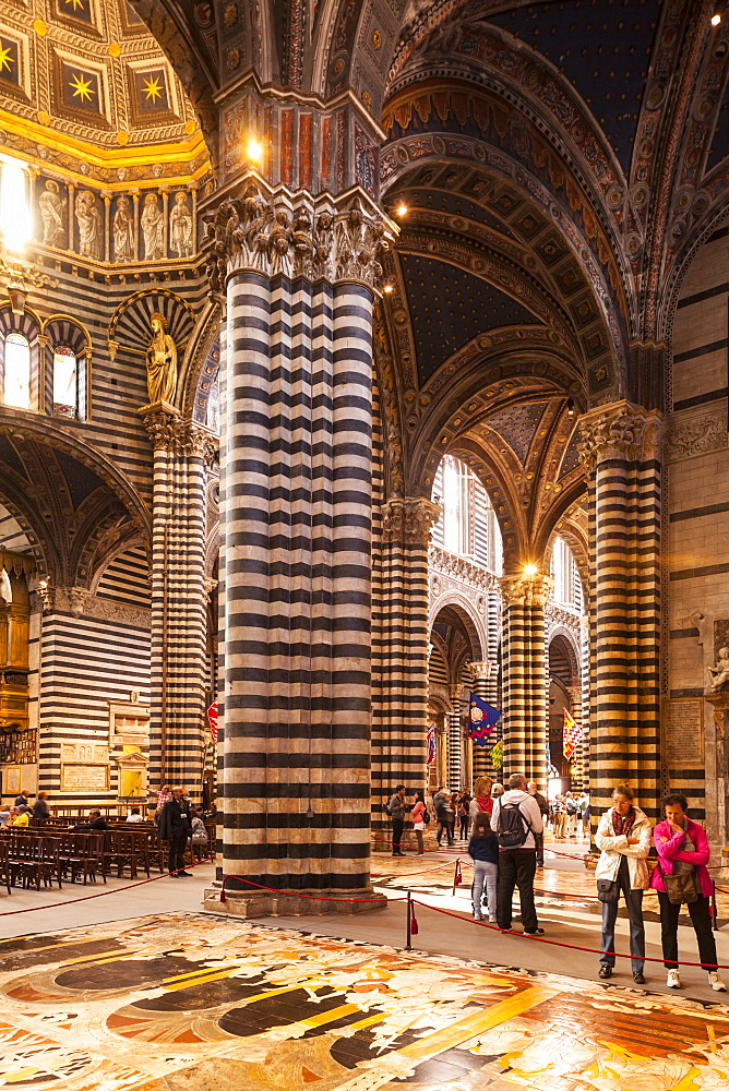 Interior of (Duomo di Siena) (Siena Cathedral), dating from the mid-14th century, Siena, Tuscany, Italy, Europe