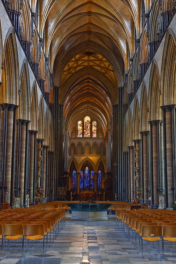 Looking down the magnificent nave of Salisbury Cathedral, Salisbury, Wiltshire, England, United Kingdom, Europe