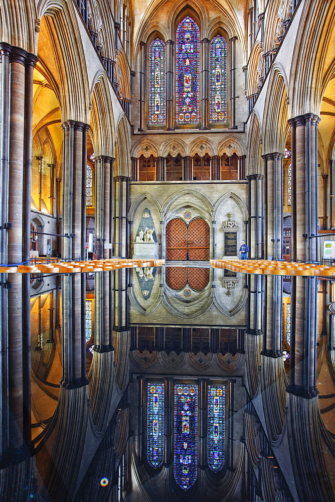 Looking towards the doorway of the west front of Salisbury Cathedral, Salisbury, Wiltshire, England, United Kingdom, Europe