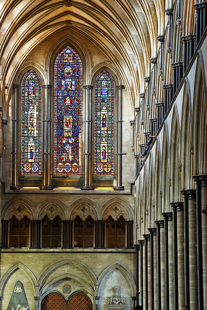 Looking down the nave of Salisbury Cathedral towards the west front, Salisbury, Wiltshire, England, United Kingdom, Europe