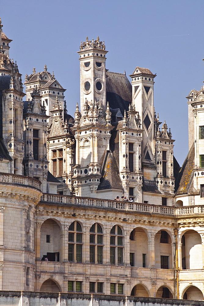 The beautiful masonry of the Chateau de Chambord, UNESCO World Heritage Site, Loir-et-Cher, Centre, France, Europe