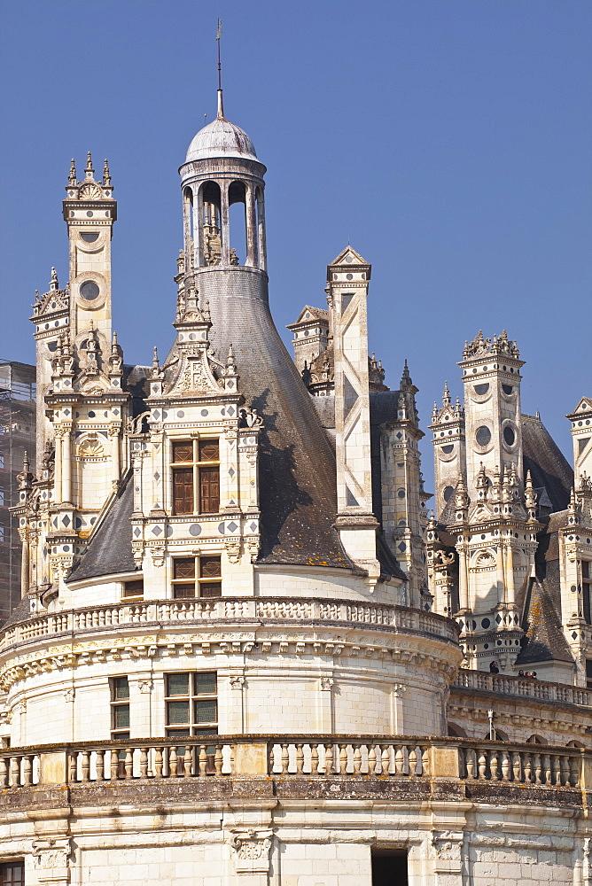 Detail shot of the roof of the Chateau de Chambord, UNESCO World Heritage Site, Loir-et-Cher, Centre, France, Europe