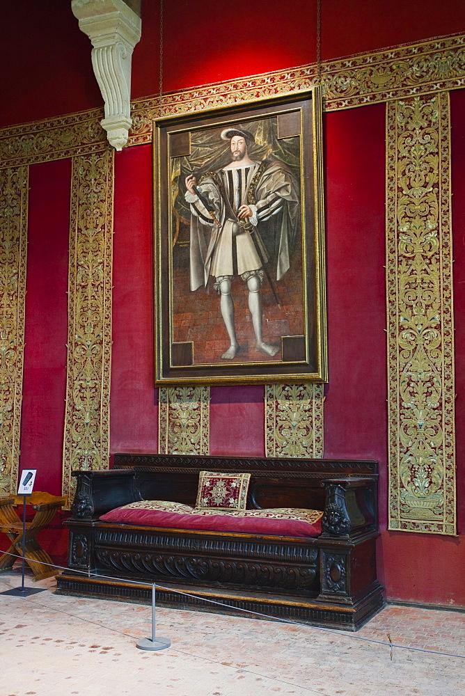 A painting of Francois 1er hanging in the Chateau de Chambord, UNESCO World Heritage Site, Loir-et-Cher, Centre, France, Europe