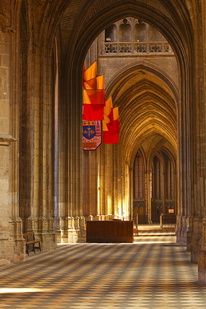 Looking down an aisle in Cathedrale Sainte Croix d'Orleans (Cathedral of Orleans), Orleans, Loiret, France, Europe