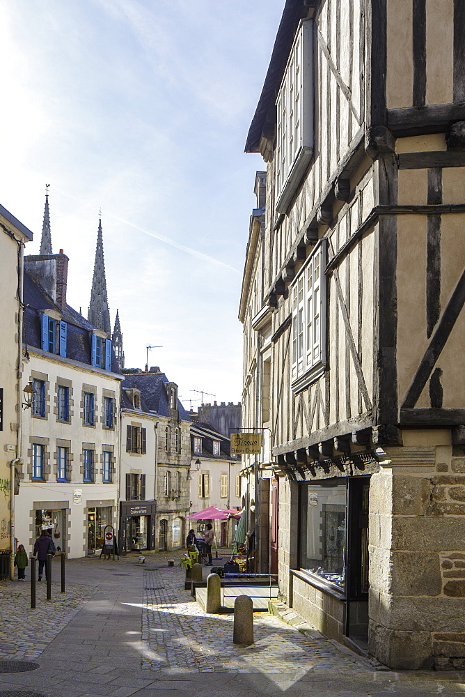 The old streets of Quimper in Brittany, France.