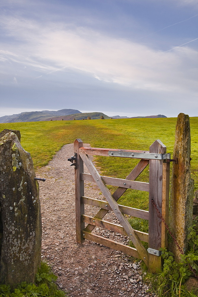 The gate that leads to Castlerigg stone circle in the Lake District National Park, Cumbria, England, United Kingdom, Europe