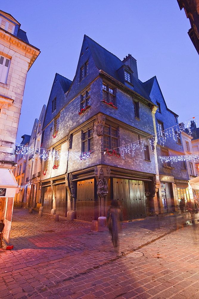 An old house in Vieux Tours with Christmas lights, Tours, Indre-et-Loire, France, Europe