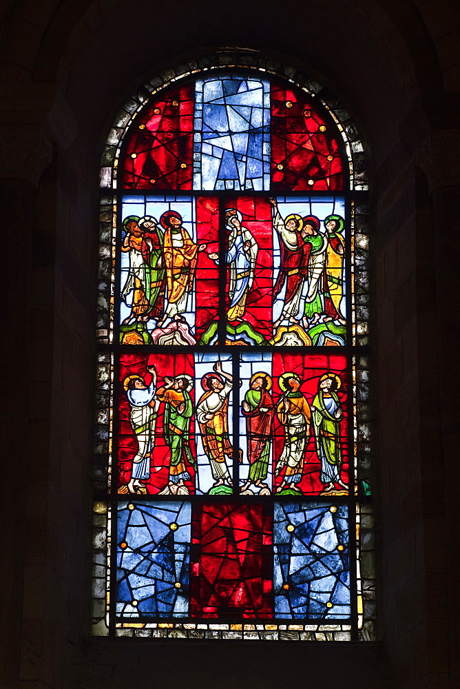 A 12th century stained glass window in the nave of St.-Julien du Mans cathedral, Le Mans, Sarthe, Pays de la Loire, France, Europe