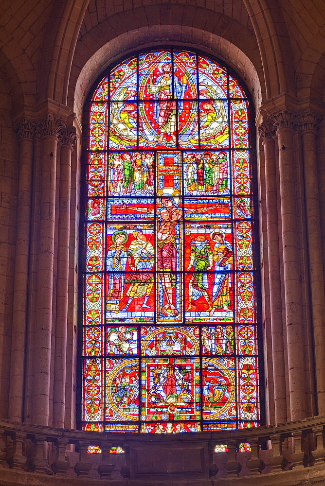 The famous stained glass window of the Crucifixion of Christ in Poitiers cathedral, Vienne, Poitou-Charentes, France, Europe