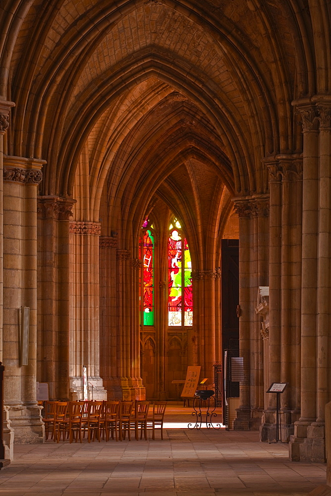 An aisle in Saint-Cyr-et-Sainte-Julitte de Nevers cathedral, Nevers, Burgundy, France, Europe