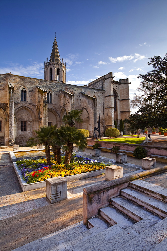 Temple Saint Martial and Agricol Perdiguier Square in the centre of Avignon, Vaucluse, France, Europe