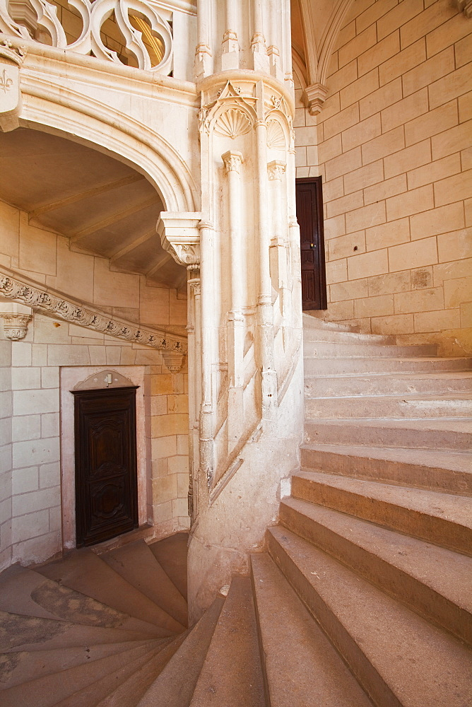 A spiral staircase inside the chateau at Chaumont-sur-Loire, UNESCO World Heritage Site, Loire Valley, Loir-et-Cher, Centre, France, Europe