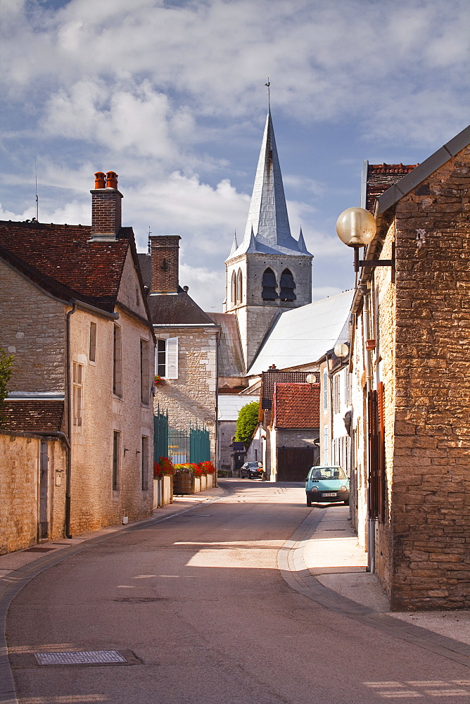 The main street in the Champagne village of Les Riceys, Aube, Champagne-Ardennes, France, Europe