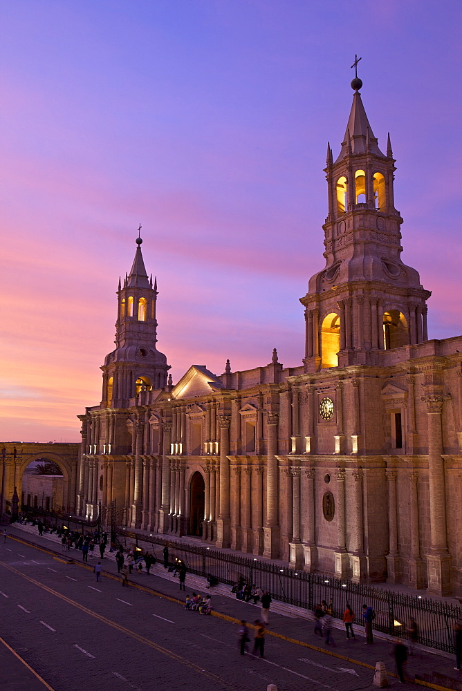 Arequipa Cathedral at sunset on Plaza de Armas, Arequipa, UNESCO World Heritage Site, Peru, South America - 851-12