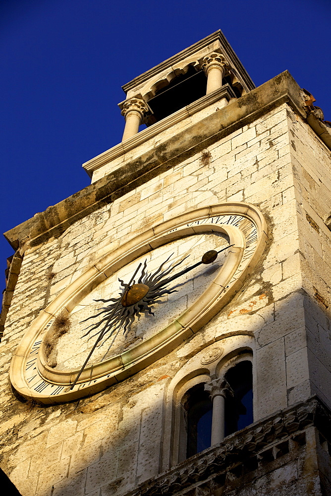 Clock tower with medieval sundial in the Peoples Square  Narodni trg, Old Town, Split, Dalmatia, Croatia, Europe