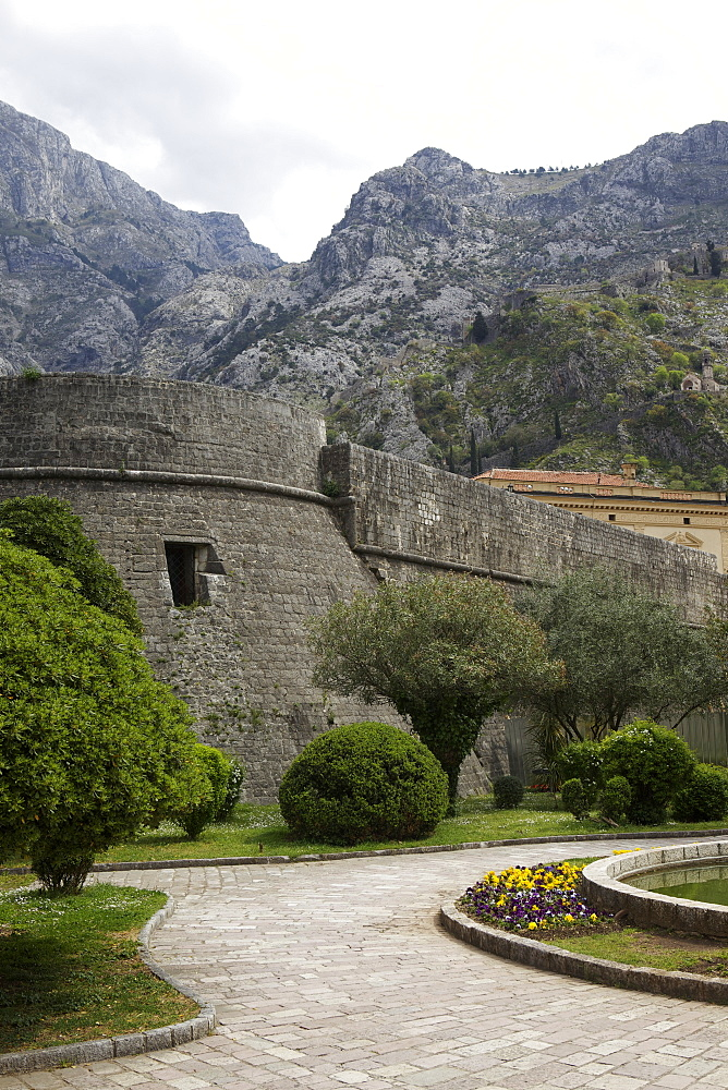 City Walls surround UNESCO world heritage site of Kotor, Montenegro