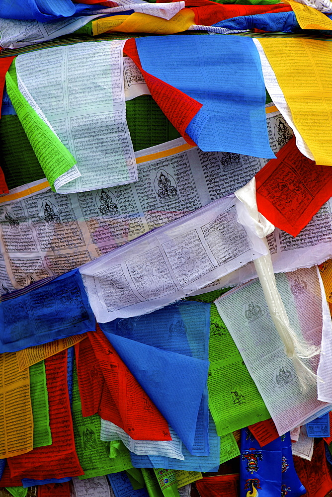 Colourful prayer flags, Lhasa, Tibet, China, Asia