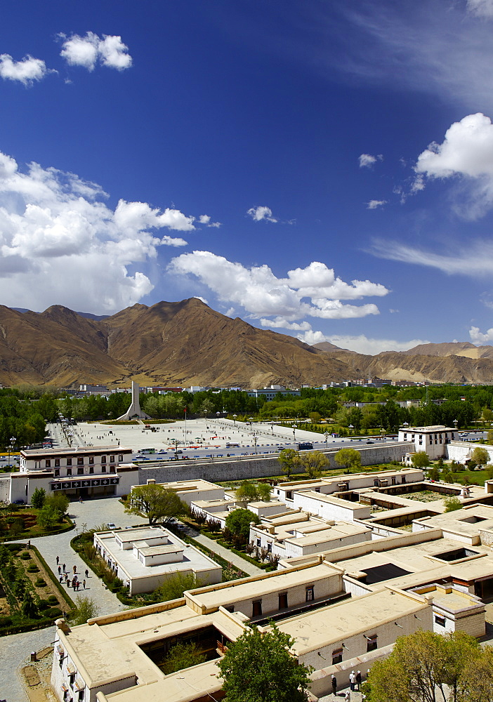View over the modern Chinese city, Lhasa, Tibet, China, Asia