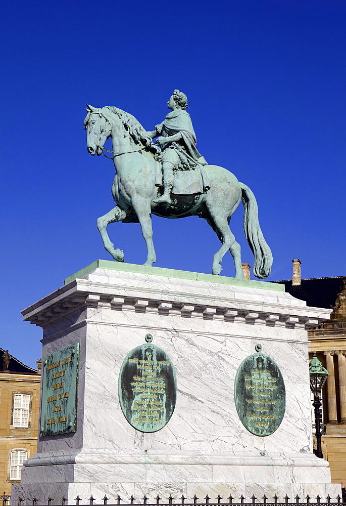 Statue of King Frederick V in Amalienborg Palace courtyard in Copenhagen, Denmark, Scandinavia, Europe