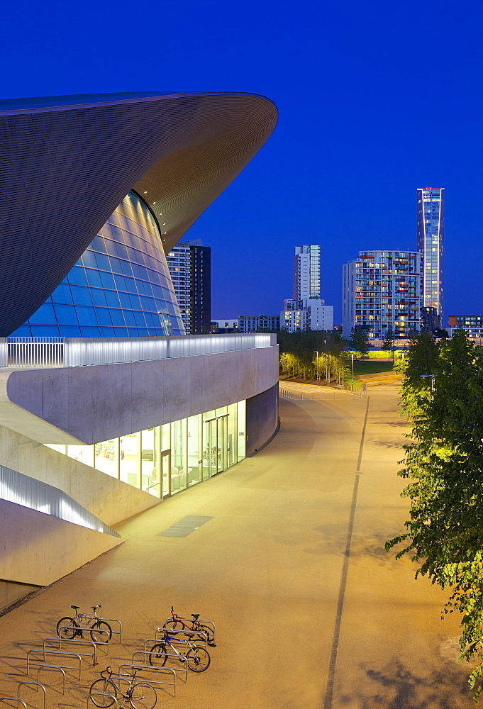 Aquatics Centre at night in the 2012 London Olympic Park, Stratford, London, England, United Kingdom, Europe - 851-557