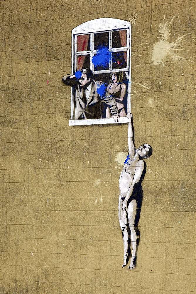 Adultery street art by the graffiti artist Banksy on Park Street in Bristol, England, United Kingdom, Europe - 851-581