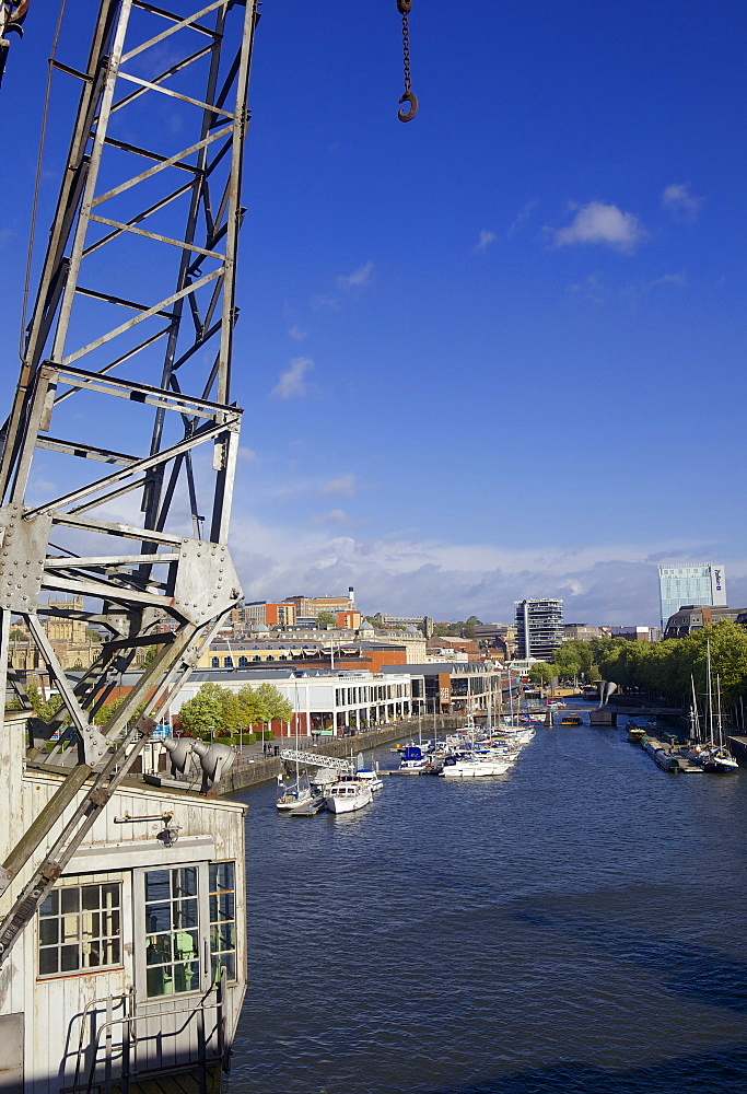 Bristol's floating harbour and an old Dockside crane, Bristol, England, United Kingdom, Europe - 851-594