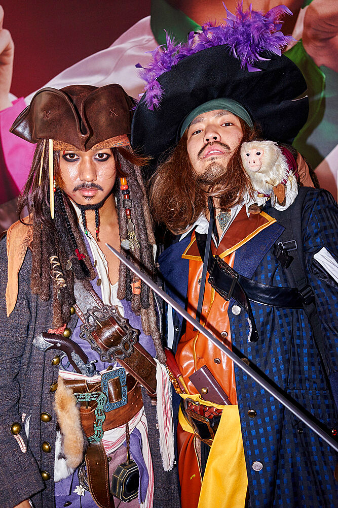 Japanese men dressed as Captain Jack Sparrow and Captain Barbossa from the Pirates of the Caribbean on Halloween in Shibuya - 851-635
