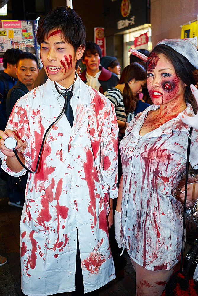 Doctors and nurses zombie costumesat the Halloween celebrations in Shibuya, Tokyo