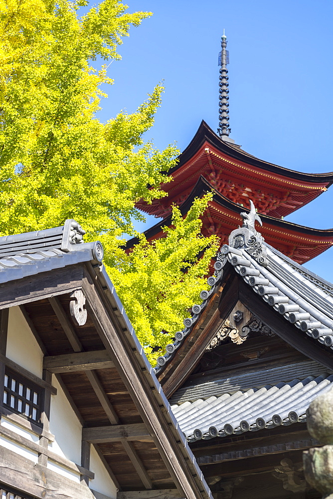 Senjokaku five-storey pagoda on Miyajima island, Itsukushima, UNESCO World Heritage Site, Hiroshima Prefecture, Honshu, Japan, Asia - 851-722