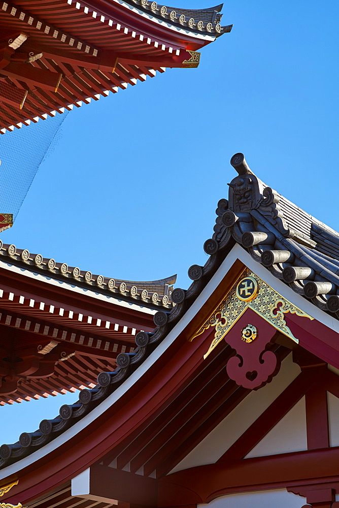 Sensoji Temple Pagoda (Asakusa Kannon Temple), the oldest temple in Tokyo, Japan, Asia - 851-834
